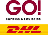 We ship with DHL EXPRESS and GO! EXPRESS & LOGISTICS